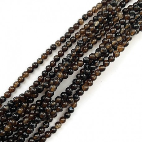 Agat czarny kulka gładka 4mm sznurek