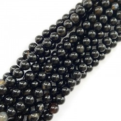 Agat czarny kulka gładka 8mm sznurek