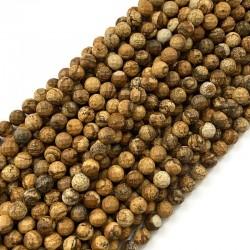 Jaspis krajobrazowy kulka fasetowana 8mm brązowy sznurek