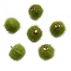 Pompony z zawieszką zielony 17x14mm