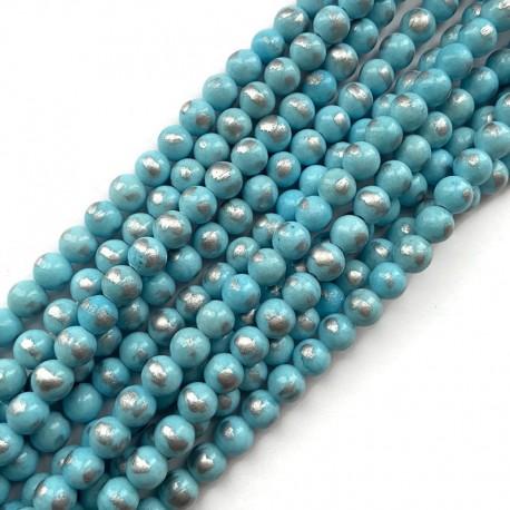 Jadeit błękitny ze srebrnym kulka 8mm gładka