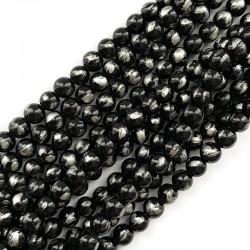 Jadeit czarny ze srebrnym kulka 8mm gładka