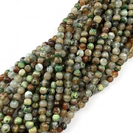 Agat kulka fasetowana 6mm sznurek brązowo zielony mix