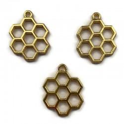Zawieszka, Baza do żywicy 26x20mm plastry miodu złota