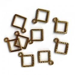 Zawieszka, Baza do żywicy 15x12mm kwadrat złote