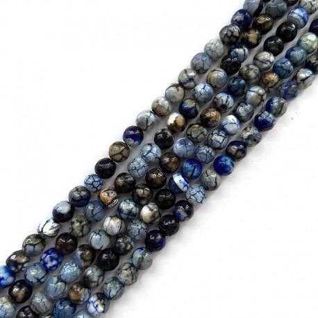 Agat kulka fasetowana 6mm sznurek mix niebieski