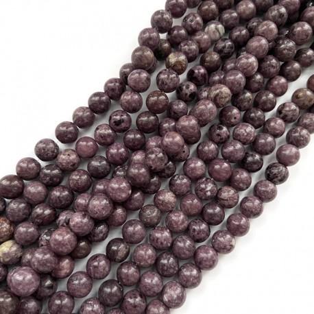 Agat kulka gładka 8mm sznurek mix fiolet
