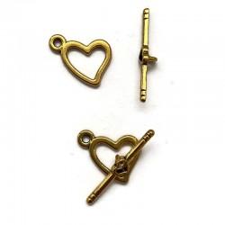 Zapięcie toggle serce 16x17mm cyna złote