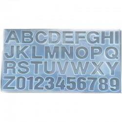 Forma do żywicy forma silikonowa do odlewów 360x194x10mm literki i liczby mix