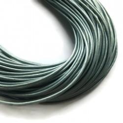 Rzemień naturalny okrągły 3mm metalik błękitny