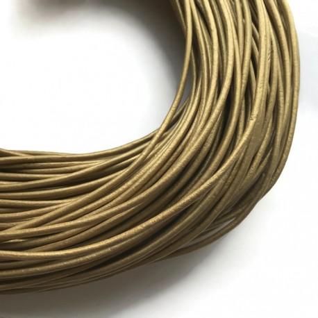 Rzemień naturalny okrągły 3mm metalik złoty