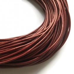 Rzemień naturalny okrągły 3mm metalik czerwony