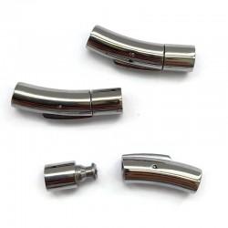 Zapięcie bagnetowe 28x7mm do wklejania stal nierdzewna srebrne zatrzaskowe