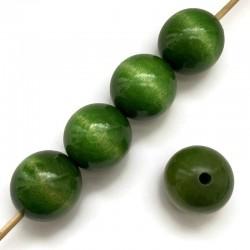 Koraliki drewniane lakierowane 30 mm zielone