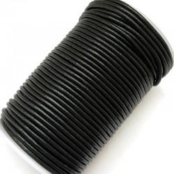 Rzemień naturalny okrągły indyjski 3mm - czarny