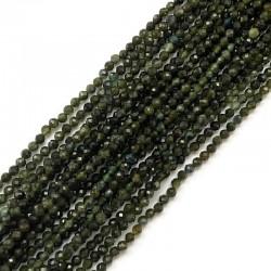 Turmalin Zielony kulka fasetowana 2mm sznurek