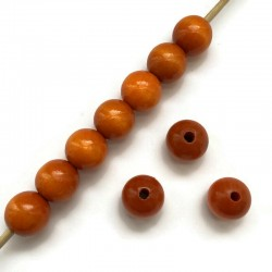 Koraliki drewniane lakierowane 15mm pomarańczowe