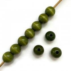 Koraliki drewniane lakierowane 15mm zielone